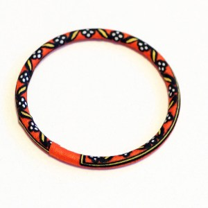 Orange & Black Thin African Print Bracelet