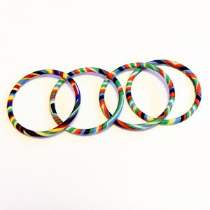 Four Multicolored Thin African Print Bracelets