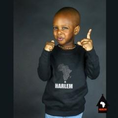 Africa in Harlem Pull à col ras du cou pré-rétréci Noir & Gris – Unisexe