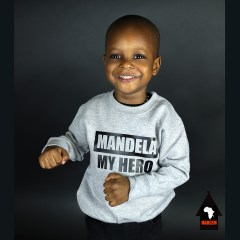 Unisex Mandela My Hero Crewneck Sweatshirt Grey & Black – Kids