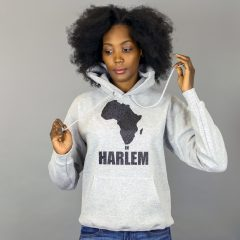 Unisex Africa in Harlem Hooded Sweatshirt Grey & Black