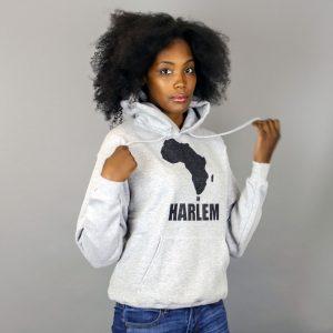 Africa in Harlem  Pull à capuche pré-rétréci Gris & Noir – Unisexe