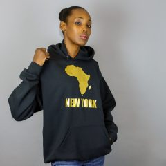 Unisex Africa in New York Hooded Sweatshirt Gold