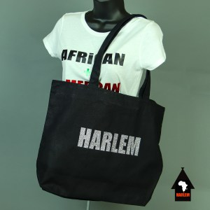 Harlem Tote bag Black & Glitter Sliver with zipper