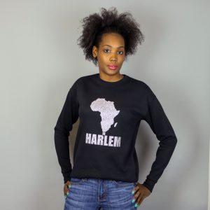 Unisex Africa In Harlem Black & Glitter Silver Crewneck Sweatshirt