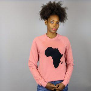Unisex Africa Black & Mauve Crewneck Sweatshirt