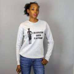 An African Queen is in Town Grey & Glitter Black Crewneck Sweatshirt