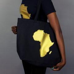 Africa Tote bag Black & Gold Gold with zipper