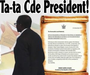 Fine era Migabe. Copertina The Herald Zimbabwe