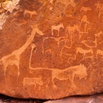 Ancient Rock Art / Paintings - Prehistoric Bushman engravings at Twyfelfontein in Namibia