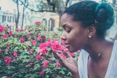 African woman flower