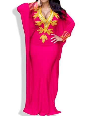 New Elegant Moroccon Premium Hand Beaded Work Party Wear Kaftan For Women