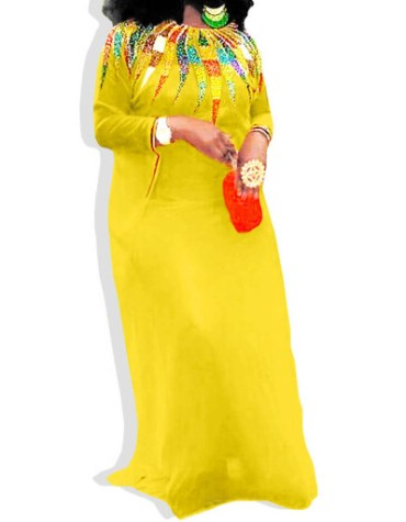 Full Sleeve Mesh Knit Chiffon Dress with Multi Color Beaded for Women Kaftan