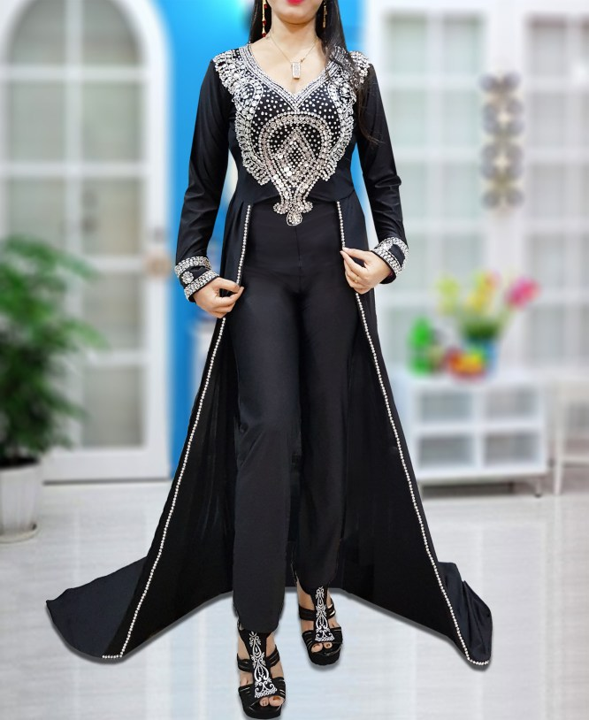 Spandex Cape Jumpsuit African Dresses Moroccan Beaded Caftans for Women