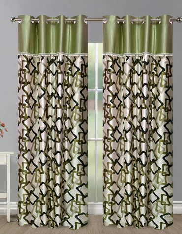 Home Candy Green Squares Geometrical 2 Piece Polyester Long Door Curtain Set