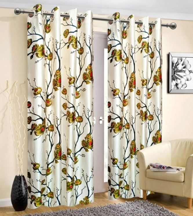 Prince 2 Piece Polyester Eyelet Abstract Long Door Curtain - 4 X 9 Feet, Green