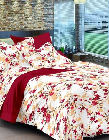 Trendy Comfort Size Cotton King Size Maroon Bedsheet with 2 Pillow Covers