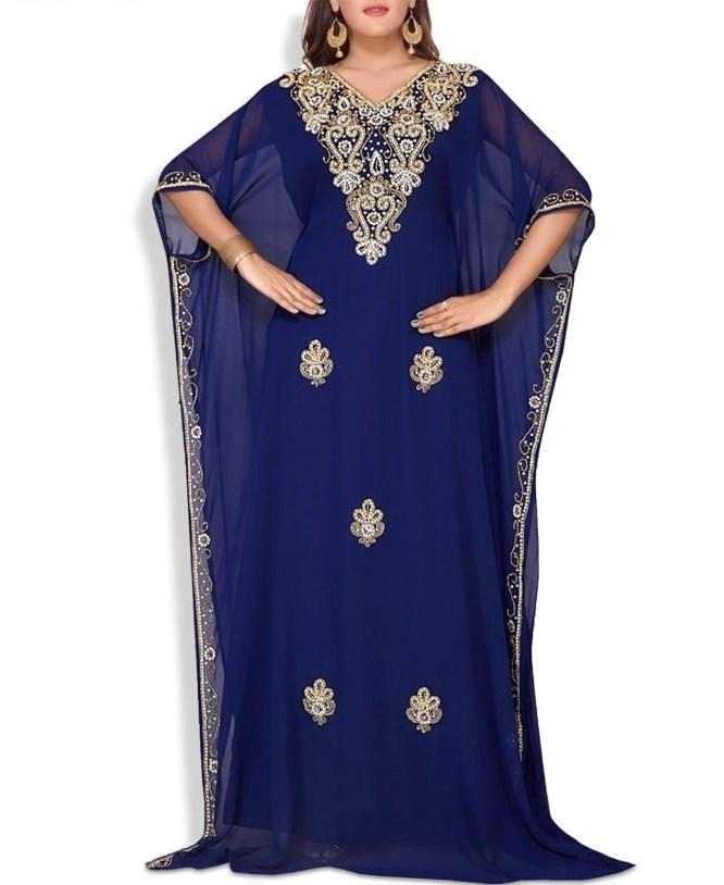 Women Abaya and Evening Dresses Golden Beaded Chiffon Moroccan Dubai Kaftan