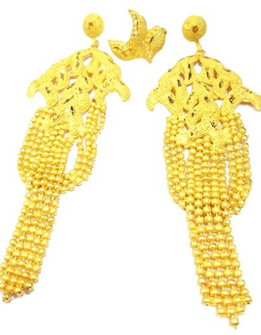 African Design Golden Plated Evening Party Wear Earrings Set For Women