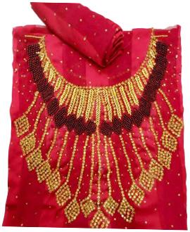 African Attire Golden Moroccan Beaded Burgundy Color Women Dress Material