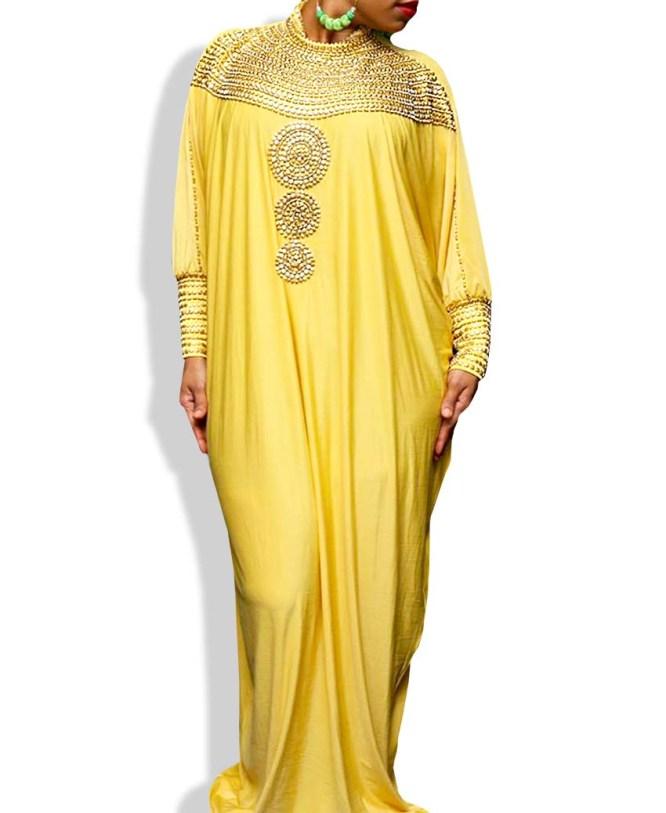 African Attire Elegant Evening Moroccan Beaded Free Size Party Abaya Spandex Kaftan