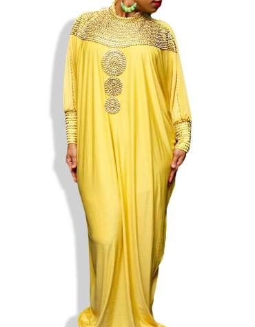 African Attire Elegant Evening Moroccan Beaded Free Size Party Abaya Spandex Kaftan