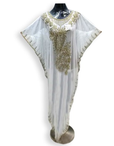 White Cover Beach up Evening Party Wear Handmade Abaya Women Dubai Cape Kaftan