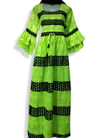 African Attire Embroidered Rayon Women Long Green Dress Stitched Elegant Gown