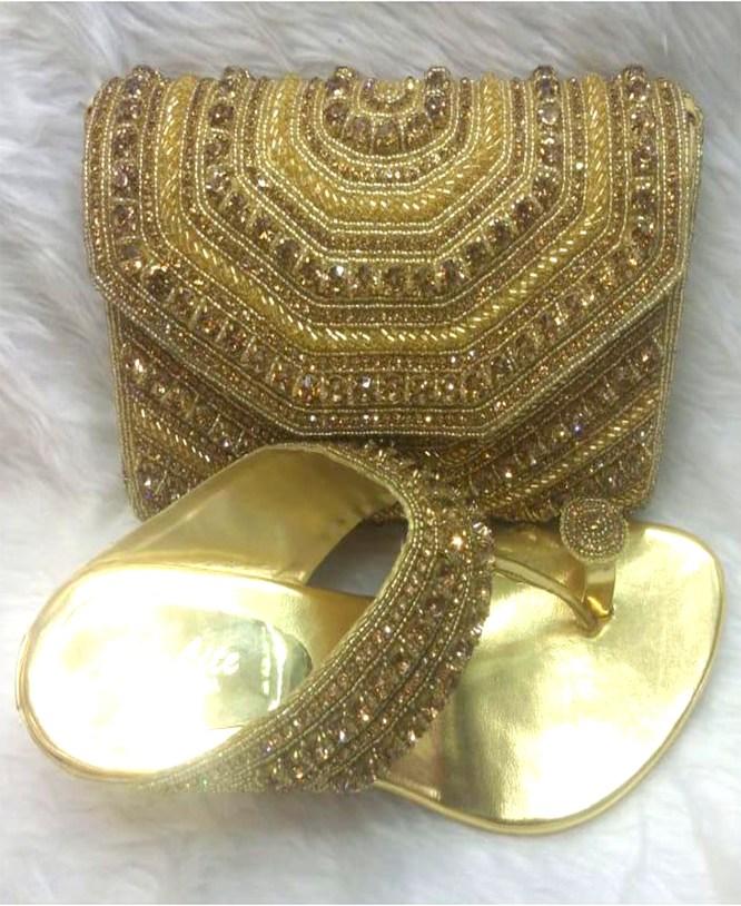 African Ladies Women Golden Work Fashion Hand Bags