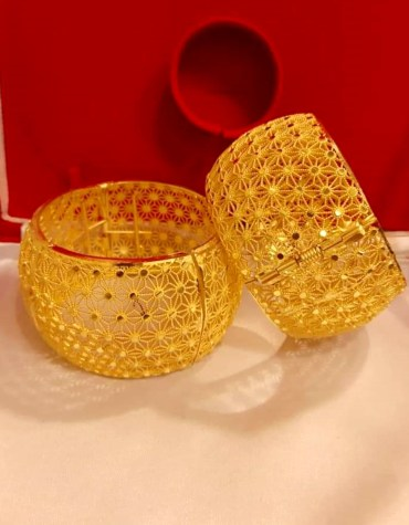 African Designer Golden Plated Premium Traditional Bangle 2 Set