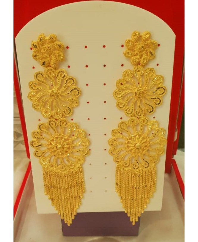 African Attire Gold Earring Long wedding party