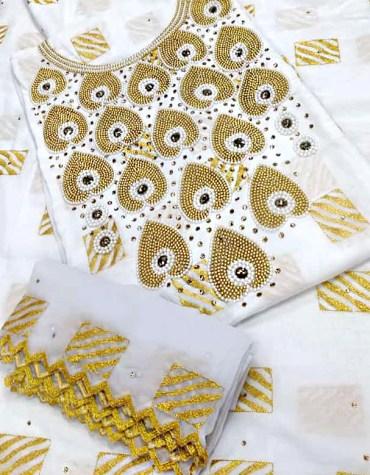 Swiss Voile Designer Satin 3 Piece Beaded Rhinestone Embroidery & Hand Work Dress