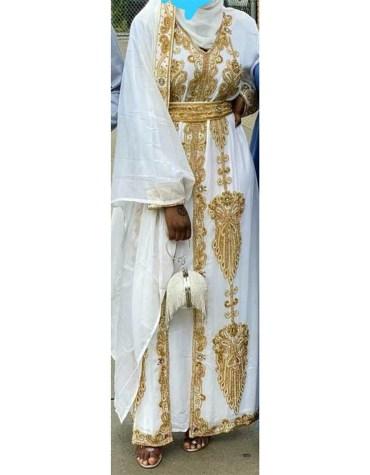 African Bridesmaids Long Abaya Golden Beaded Dubai Kaftan for Women