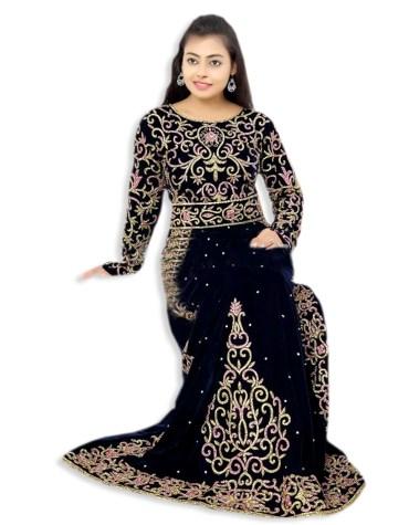 African Dubai Kaftan Attire Abaya Golden Hand Work Velvet Party Wear
