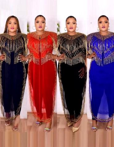 African Golden New Design Gold Stone Wedding Guest Formal Dubai dresses for women