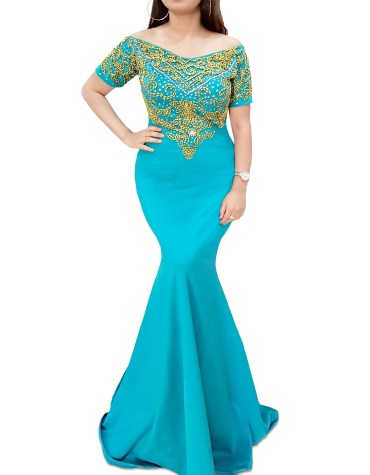 African Dress Gold Moroccon Beaded Mermaid Sea Green Off Shoulder Spandex Kaftan