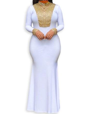 Elegant Golden Beaded Mock Neckline African Spandex Prom Dress For Women