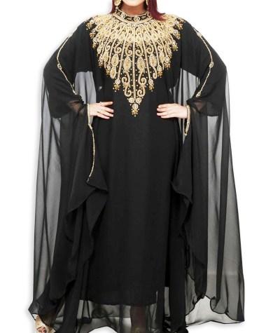 African Attire Maxi Evening Dress For Women Golden Beaded Moroccan Dubai Kaftan