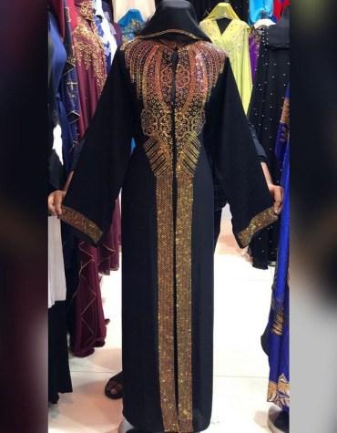 African Attire Evening Rhinestone Formal Beaded Moroccan Abayas for Women Kaftan