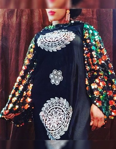 African Attire Abaya Rhinestone Work Material Moroccan Party Wear Dubai kaftan