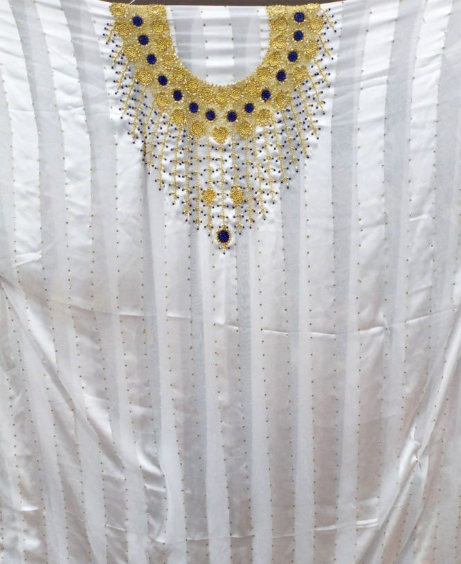 Satin Silk Lace Golden and Blue Seed Beaded White African Women Dress Material