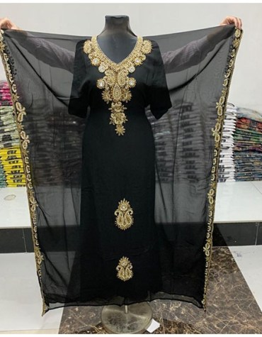 Maxi Dress Dubai Kaftan Gold Beaded Wedding Evening Gown Abaya for women
