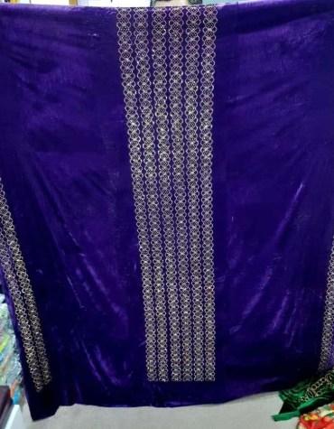 African Latest Rhinetsone Work Velvet Party Dress Material For Women