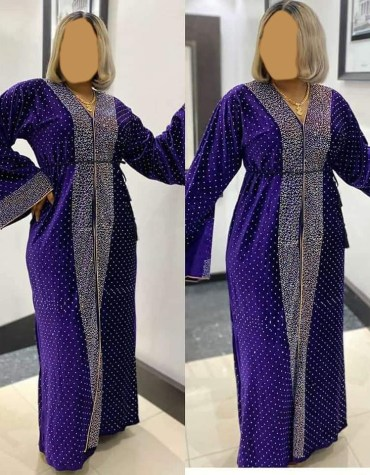African Attire Velvet Abaya for women Kaftan Elegant Embroidered Rhinestone work