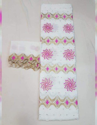 Latest African Designer Swiss Voile Cotton With Elegant Embroidery Hand Work Dress Material