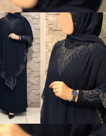 African Attire Poncho Dress for Women Rhinestone Work Abaya Formal Wear