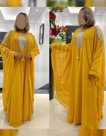 African Attire Chiffon Kaftan Dresses For Women Dubai Embroidery Work For Wedding