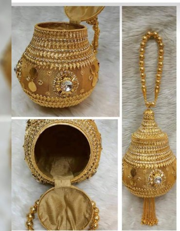 Latest Fancy Bags With Golden Designer Round Shape Metal Clutch Hand Bag Wedding Party Ladies