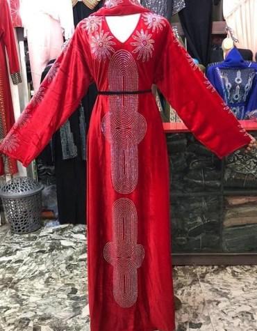 Latest Fashion Dubai Kaftan for women Party Wear Rhinestone Work On Dress For Women