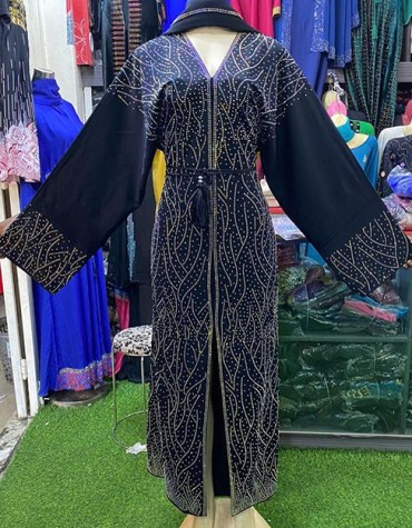 Premium Quality Attire African Fancy With Beaded Trendy Party Abaya For Women